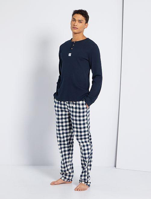 Pyjama bi-matière                             bleu marine