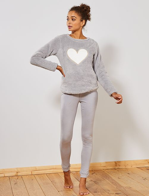 Pyjama bi-matière                                                                 gris coeur