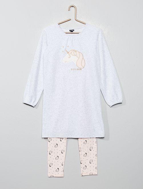 Pyjama bi-matière 'licorne'                                         blanc