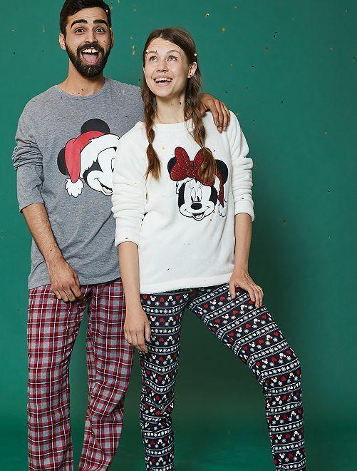 Pyjama bi-matière 'Minnie'                                         écru/marine