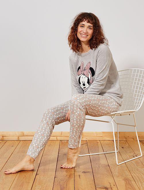 Pyjama bi-matière 'Minnie'                                         gris/rose