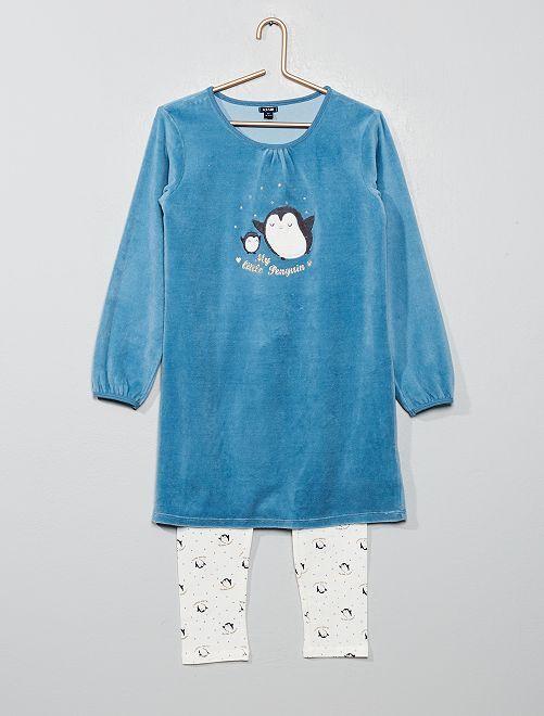 Pyjama bi-matière 'pingouin'                                         bleu