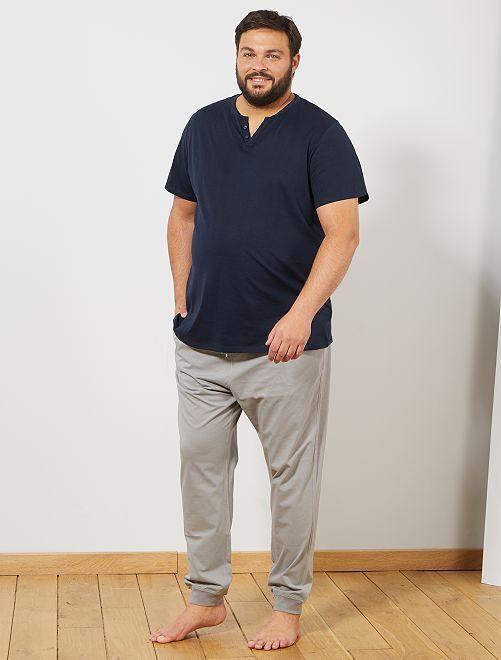Pyjama bicolore                             bleu marine/gris