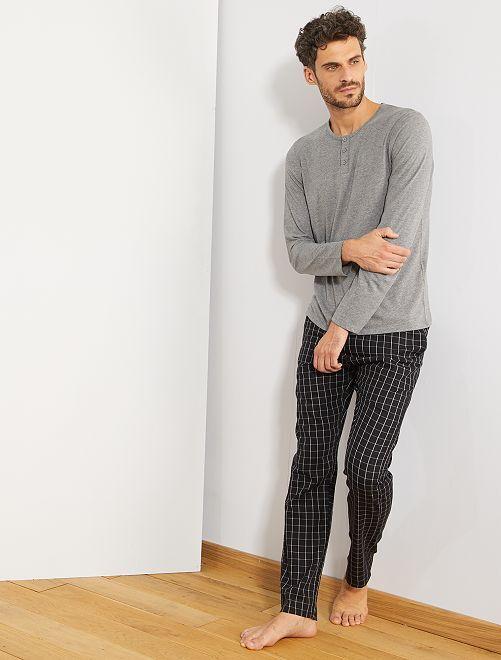 Pyjama bicolore manches longues                             gris/noir