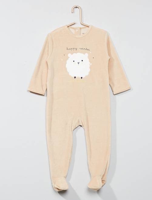 Pyjama brodé en velours                                                                                         beige Bébé garçon