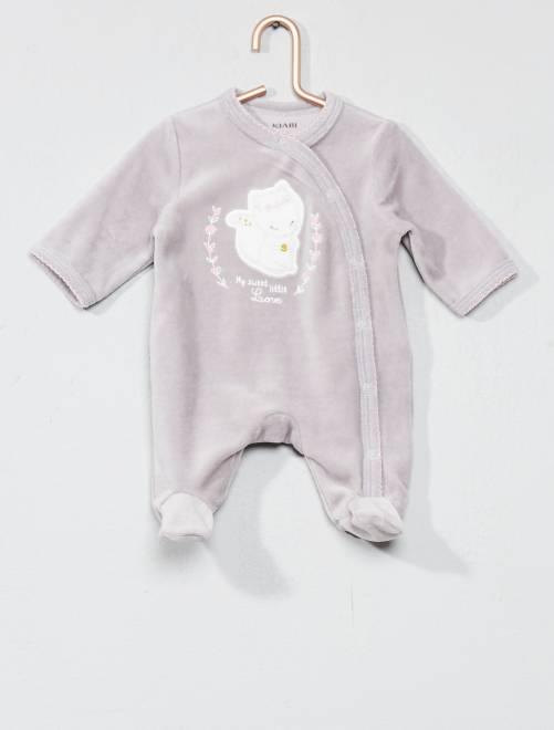 Pyjama brodé en velours                                                                 GRIS Bébé fille