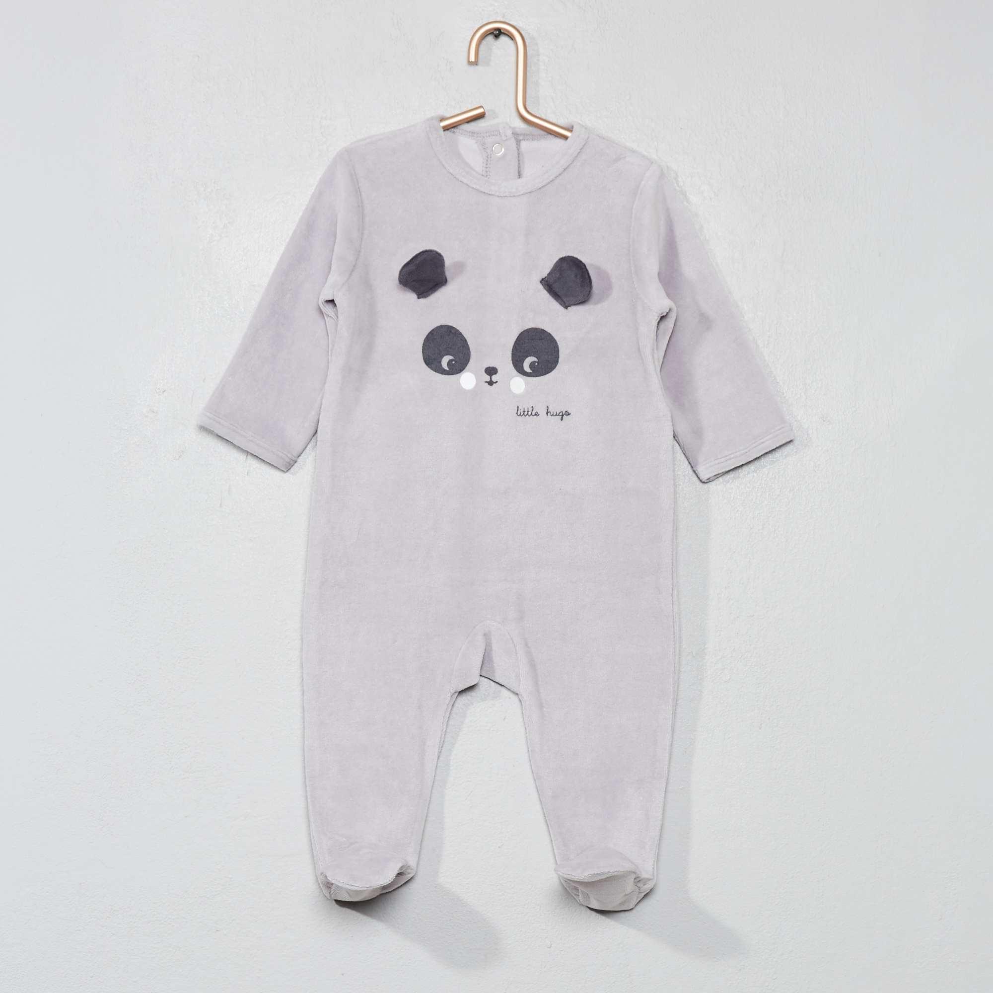 2c3ccf7345135 Pyjama brodé en velours Bébé garçon - gris clair - Kiabi - 10,00€