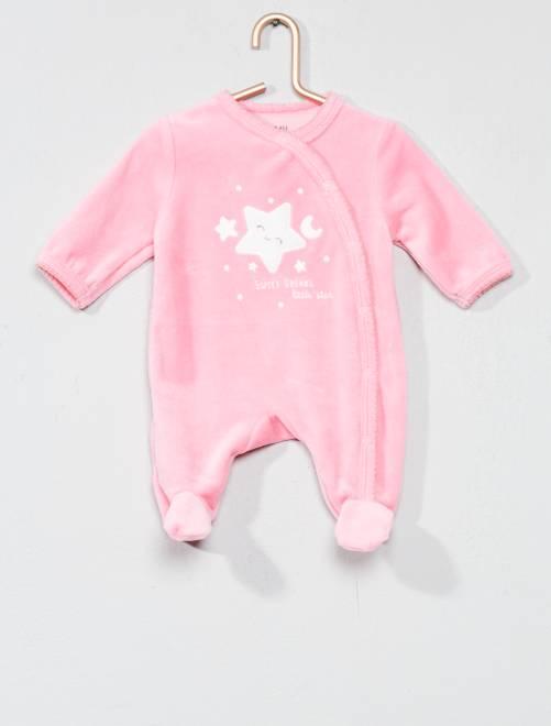 Pyjama brodé en velours                                                                             ROSE Bébé fille