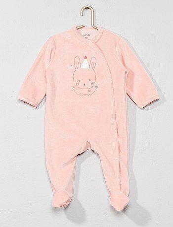 Fille 0-36 mois - Pyjama brodé en velours - Kiabi