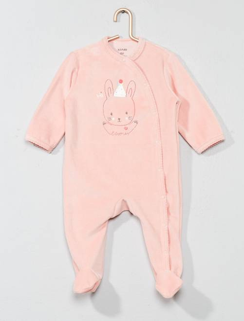 Pyjama brodé en velours                                                                 rose pêche Bébé fille
