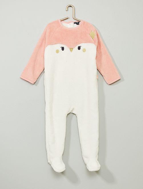 Pyjama chaud en polaire                                         blanc/rose