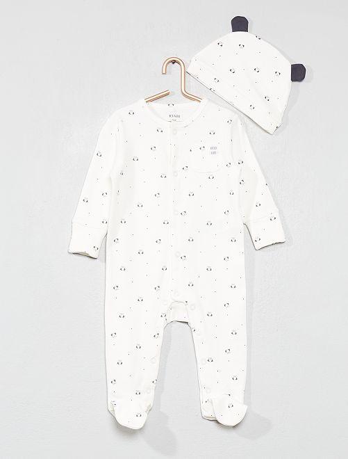 Pyjama 'chien' + bonnet                                         écru Bébé fille