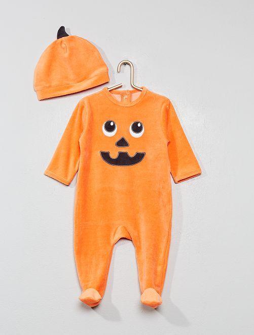 Pyjama 'citrouille' + bonnet en velours                             orange