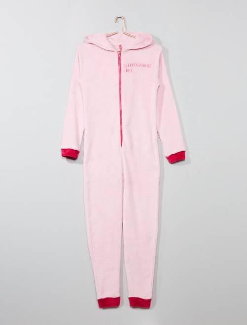 pyjama combinaison en polaire 39 dinosaure 39 fille. Black Bedroom Furniture Sets. Home Design Ideas