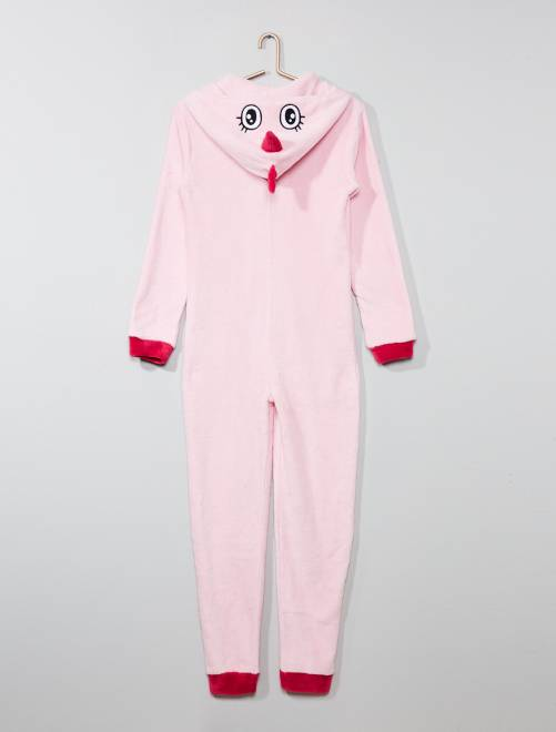 pyjama combinaison en polaire 39 dinosaure 39 fille adolescente rose kiabi 18 00. Black Bedroom Furniture Sets. Home Design Ideas
