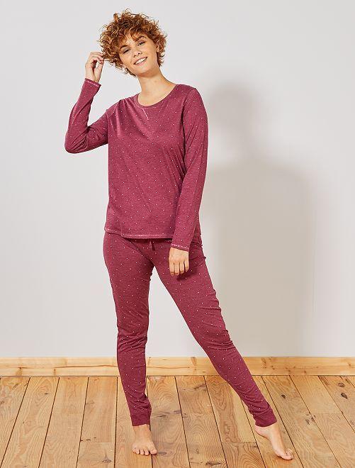 Pyjama coton bio majoritaire                                                                 bordeaux chiné Lingerie du s au xxl
