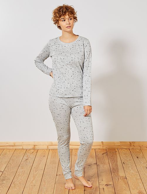 Pyjama coton bio majoritaire                                                                 gris clair chiné Lingerie du s au xxl