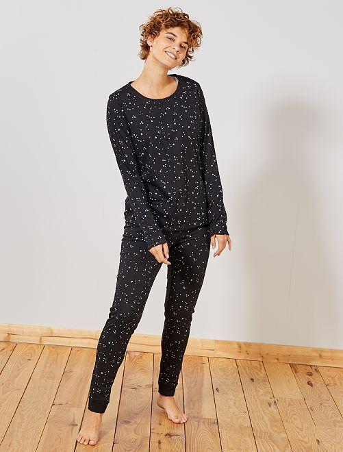 Pyjama coton bio                                                                 noir Lingerie du s au xxl