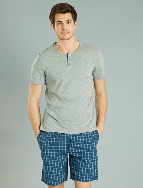 Pyjama court à carreaux                     gris/bleu canard