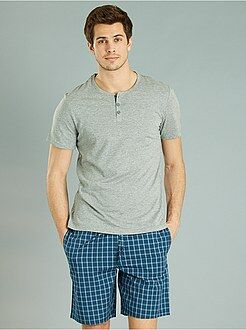 Pyjama, peignoir - Pyjama court à carreaux - Kiabi