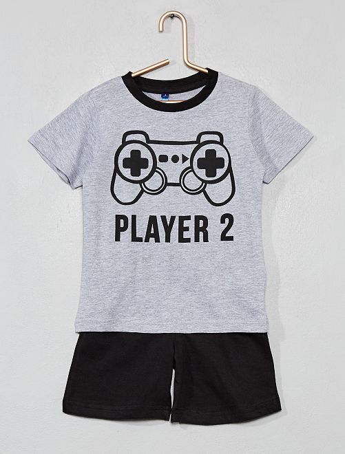 Pyjama court bicolore                                         gris Garçon
