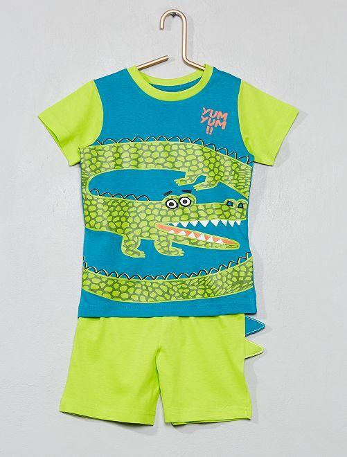 Pyjama court 'crocodile'                             bleu/vert