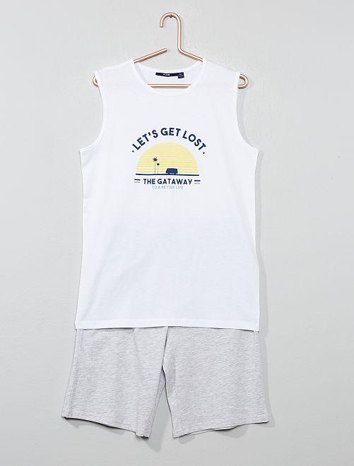 Pyjama court débardeur imprimé                                         blanc/gris chiné Garçon adolescent