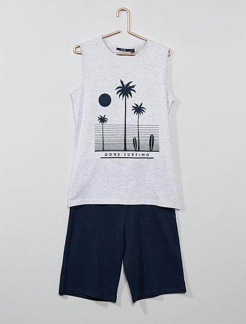 Pyjama court débardeur imprimé                                         gris chiné/marine