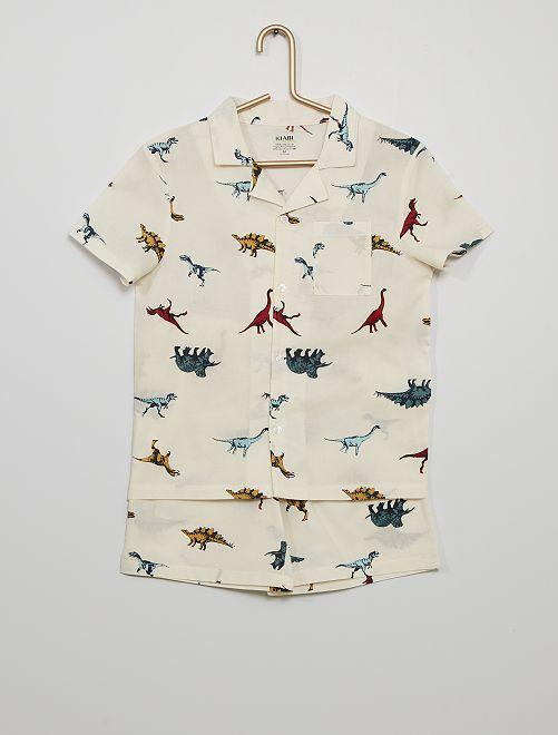 Pyjama court 'dinosaures'                                         BLANC