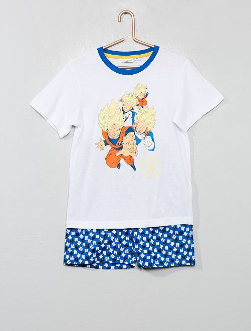 Pyjama court 'Dragon Ball Z' phosphorescent                             blanc/bleu Garçon