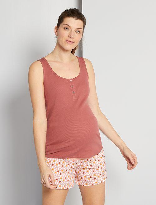 Pyjama court éco-conçu grossesse                                         rose