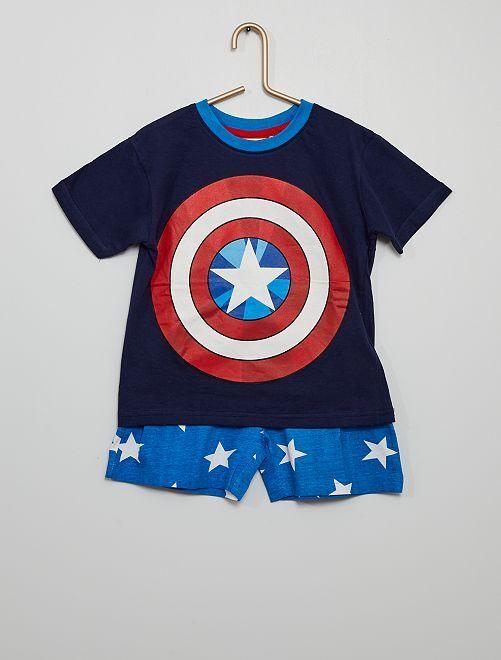 Pyjama court en coton 'Captain America' 'Marvel'                             marine/bleu