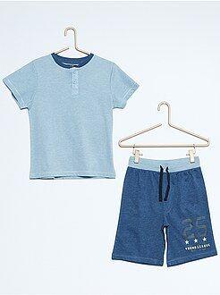 Pyjama, peignoir - Pyjama court en jersey bicolore