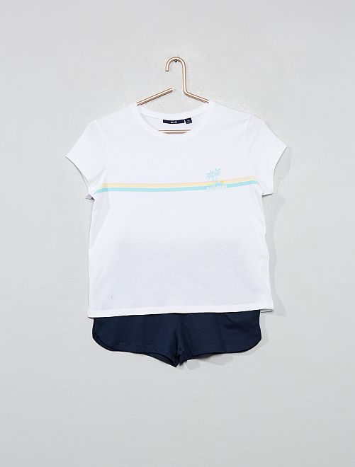 Pyjama court en jersey                                                     blanc/marine Fille adolescente