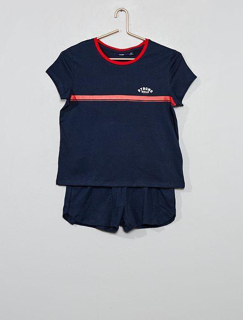 Pyjama court en jersey                                                     marine/rouge