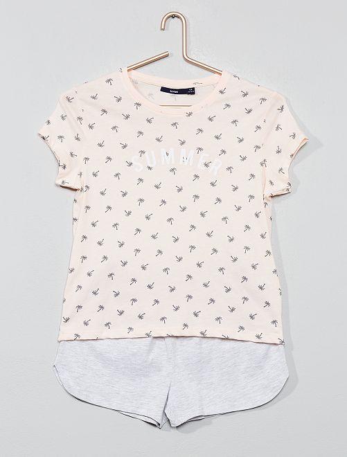 Pyjama court en jersey                                                     rose/gris Fille adolescente