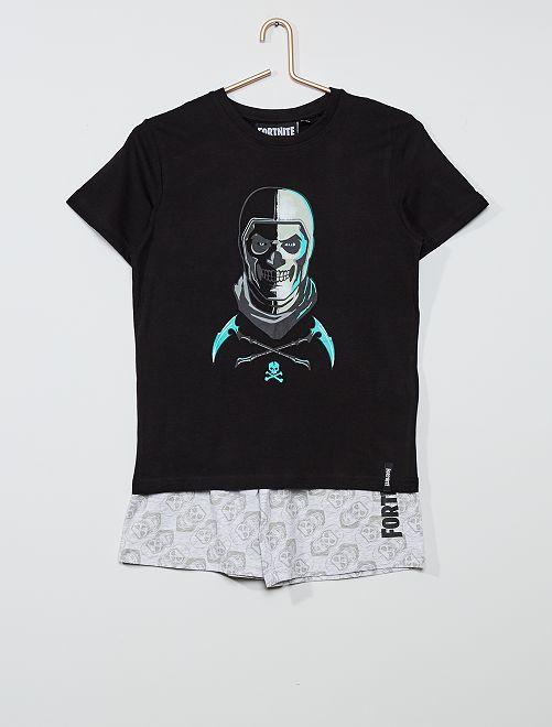 Pyjama court 'Fornite'                             noir/ gris