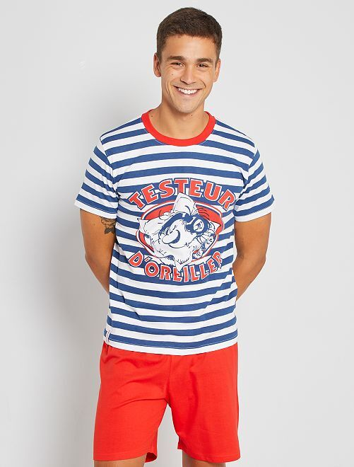 Pyjama court 'Gaston Lagaffe'                             bleu/blanc/rouge
