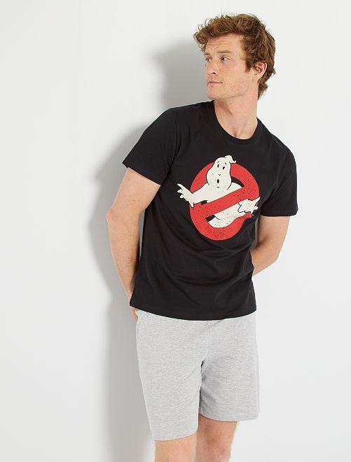 Pyjama court 'Ghostbusters'                             noir/gris