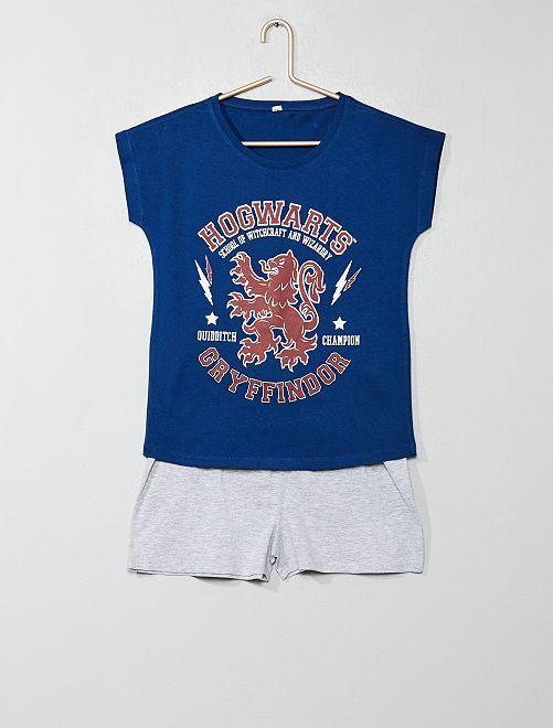 Pyjama court 'Harry Potter'                             bleu/gris Fille