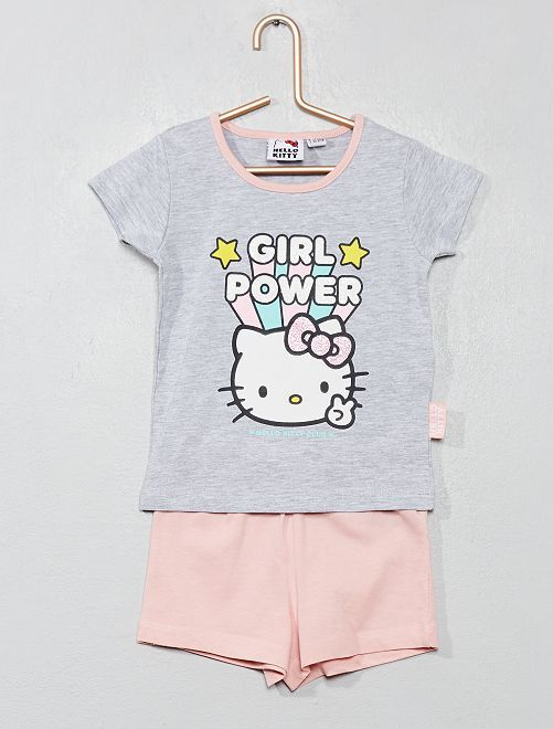 Pyjama court 'Hello Kitty'                             gris/rose Fille