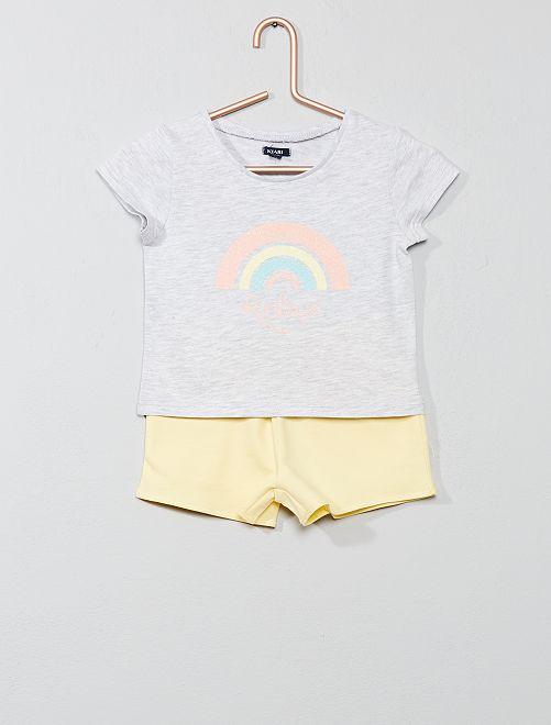 Pyjama court imprimé 'ar-en-ciel'                                         gris chiné/jaune Fille