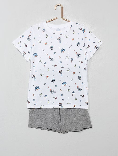Pyjama court imprimé                                                     blanc