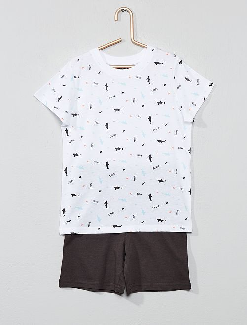 Pyjama court imprimé                                                                 blanc/gris