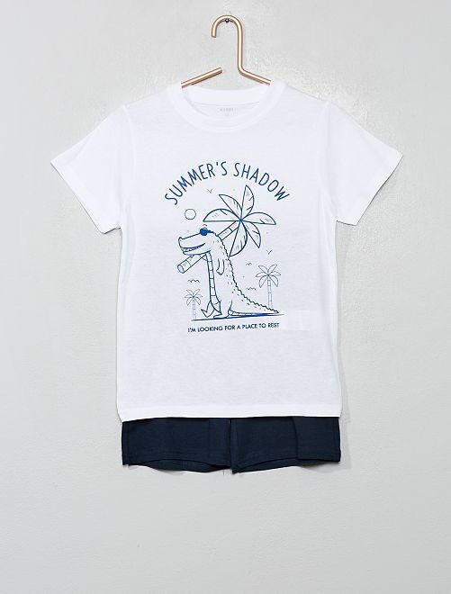 Pyjama court imprimé                     blanc/marine