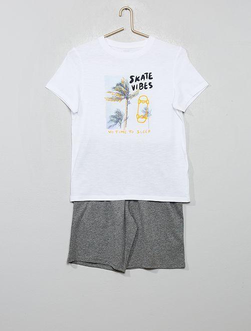 Pyjama court imprimé                                                     blanc/skate