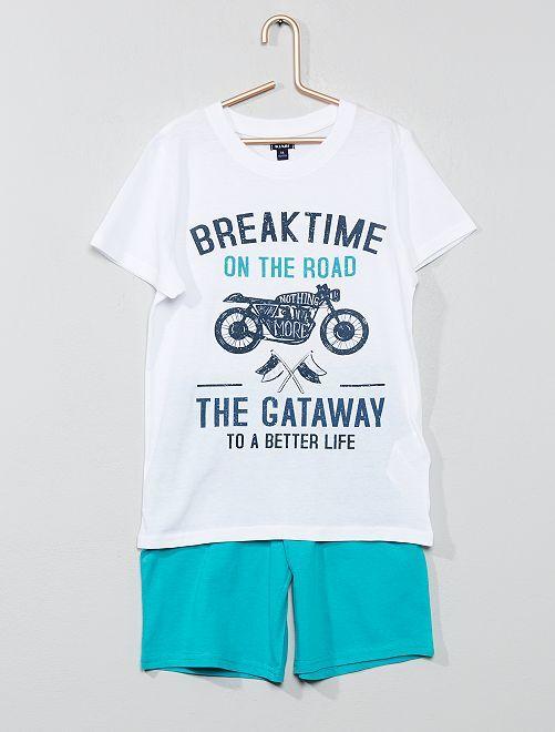 Pyjama court imprimé                                                                 blanc/turquoise