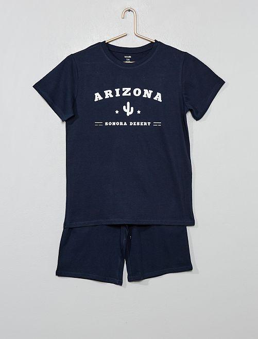 Pyjama court imprimé                                         bleu marine Garçon adolescent