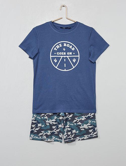Pyjama court imprimé                                                                                         bleu/camouflage Garçon adolescent