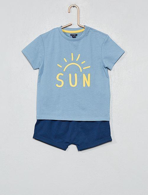 Pyjama court imprimé                                                                 bleu/jaune Bébé garçon